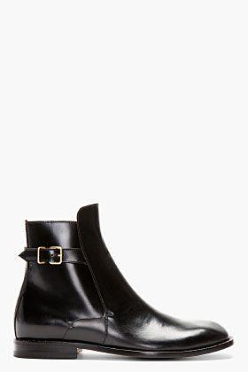 0683d5966ea26 Maison Martin Margiela Black Leather Buckle Ankle Boot for men   SSENSE