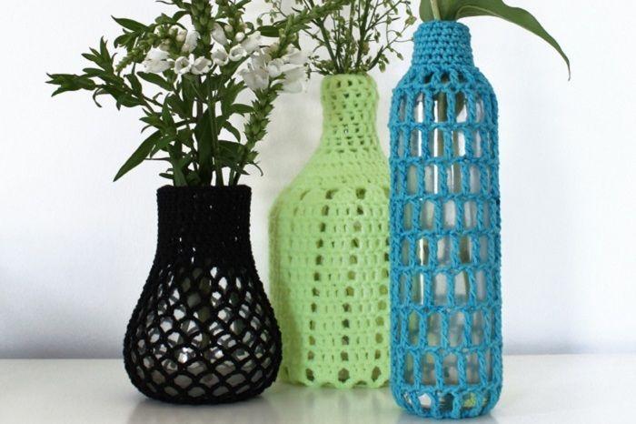 DIY: Häkelvasen von GAARN | Flaschen, Vasen und Dawanda