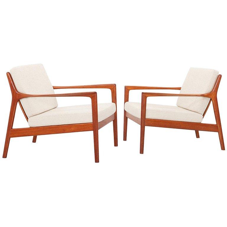 Folke Ohlsson Lounge Chair Usa 75 Easy Dux Sweden 1950s Swedish Scandinavian Modern Fabric Teak Vintage Lounge Chair Chair Modern Lounge Chairs
