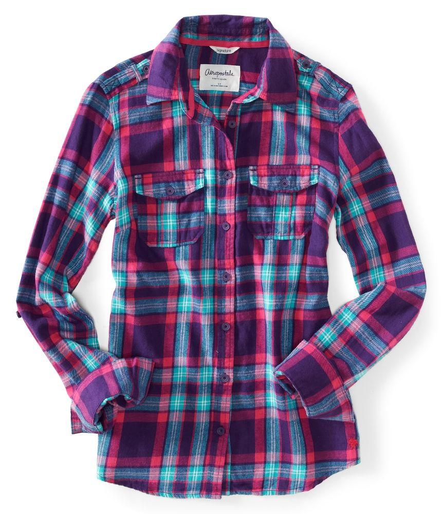 7 For All Mankind Girls Big Plaid Flannel Shirt