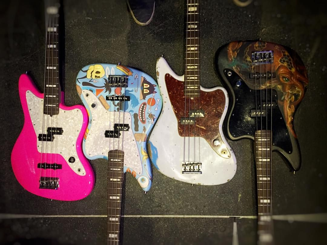 The Quiver Of Mark Hoppus 4 Custom Painted Fender Jaguar Basss 2 By Octapus Art Is Done Artist Craola And Blue Bass