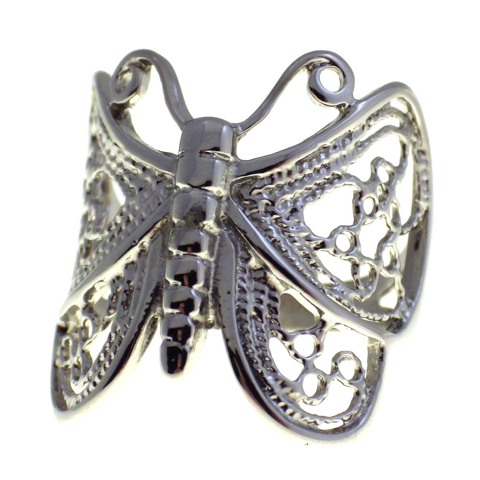 Sale! Women's filigree butterfly ring stainless steel band