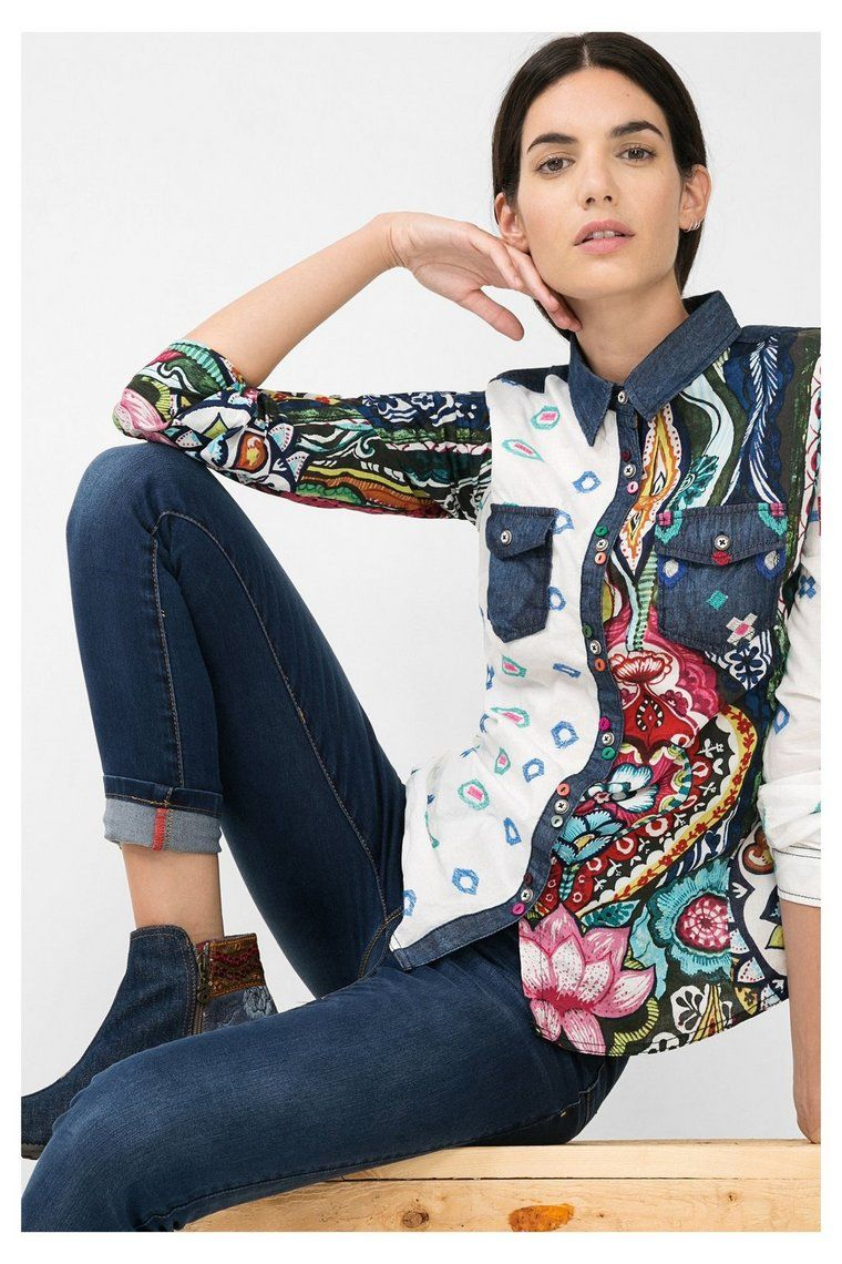 36ed4cd9856 Camisa estampada con denim