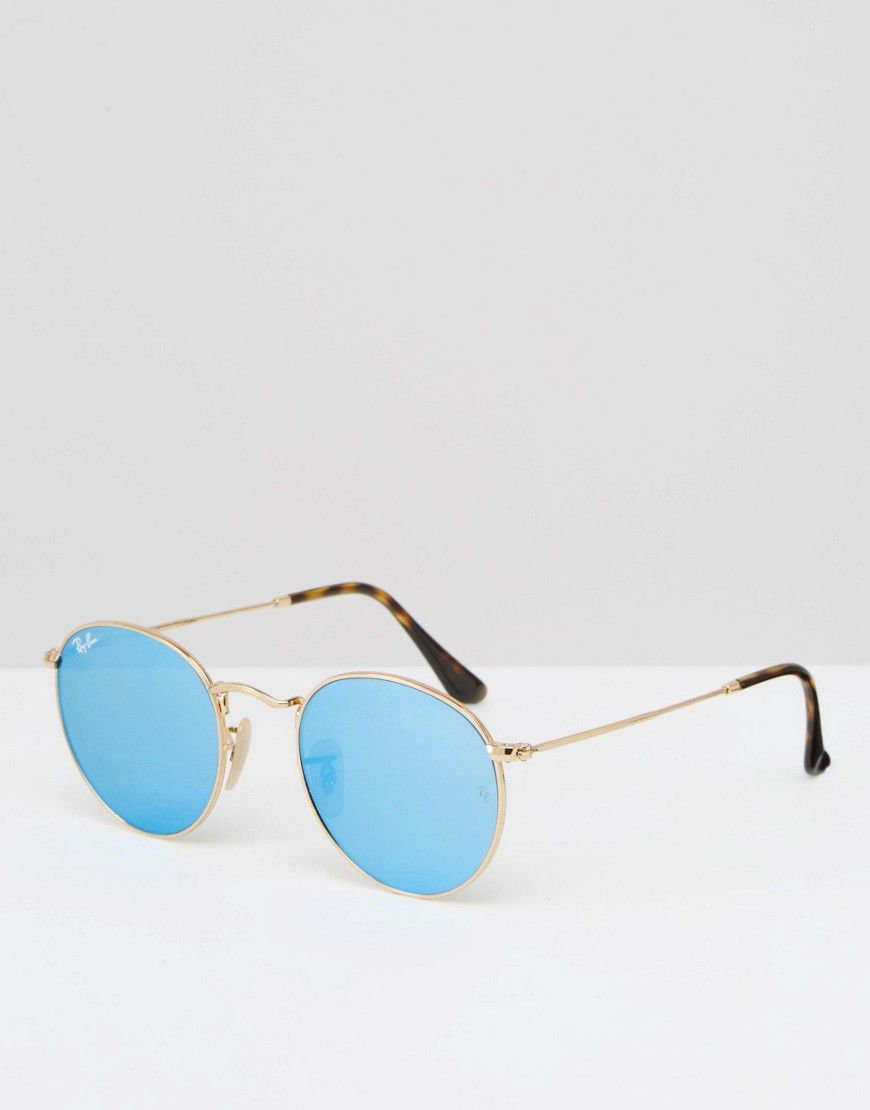 Ray-Ban – Runde Brille mit blau verspiegelten Gläsern und ...