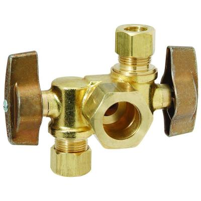 Brasscraft 1 2 In Nom Comp Inlet X 3 8 In O D Comp X 3 8 In O D Comp Dual Outlet Dual Shut Off 1 4 Turn Angle Ball Valve Ktcr1901dvx R Plumbing Stainless Steel Tubing Septic System