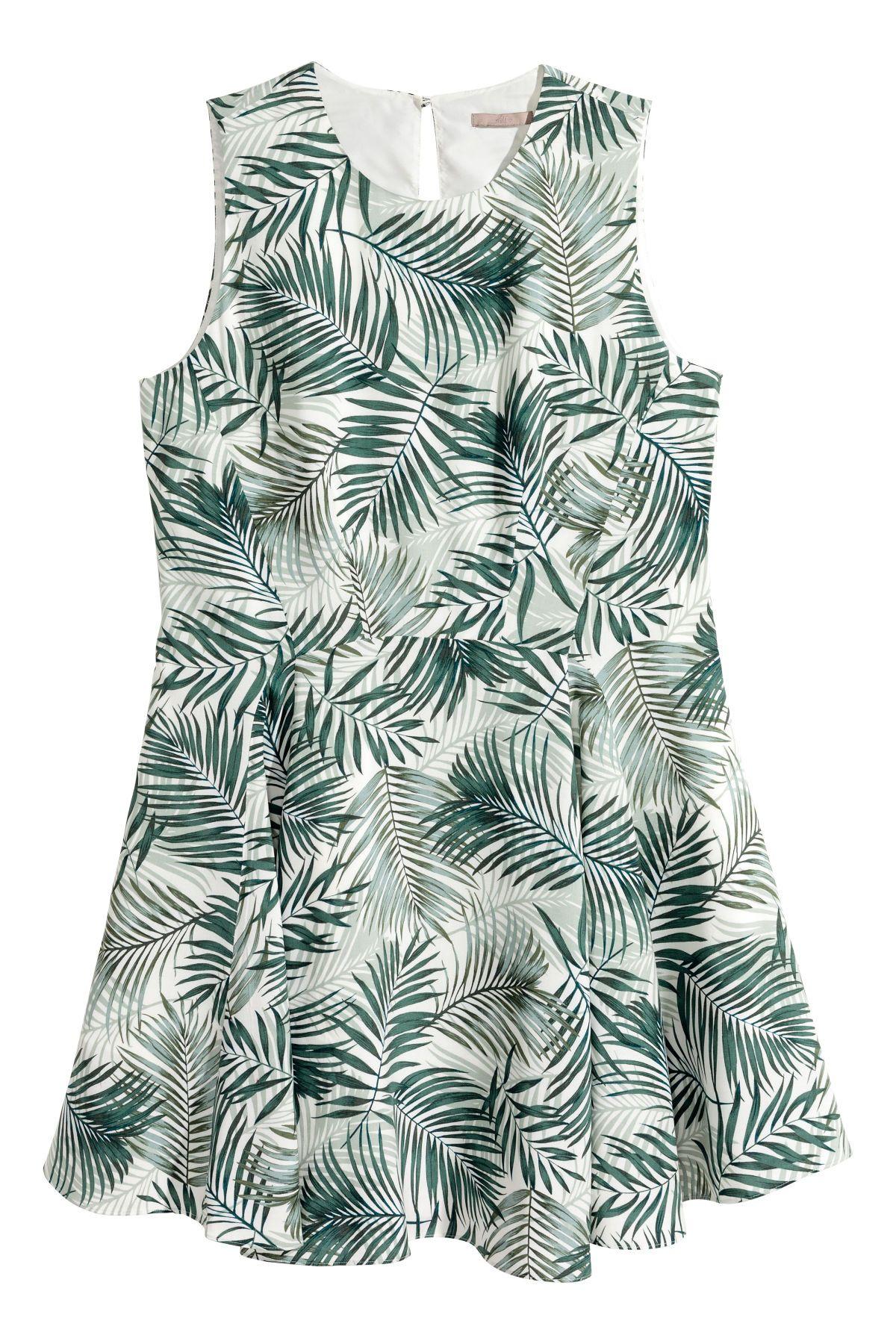 h&m+ gemustertes kleid | weiß/palmenblätter | sale | h&m de