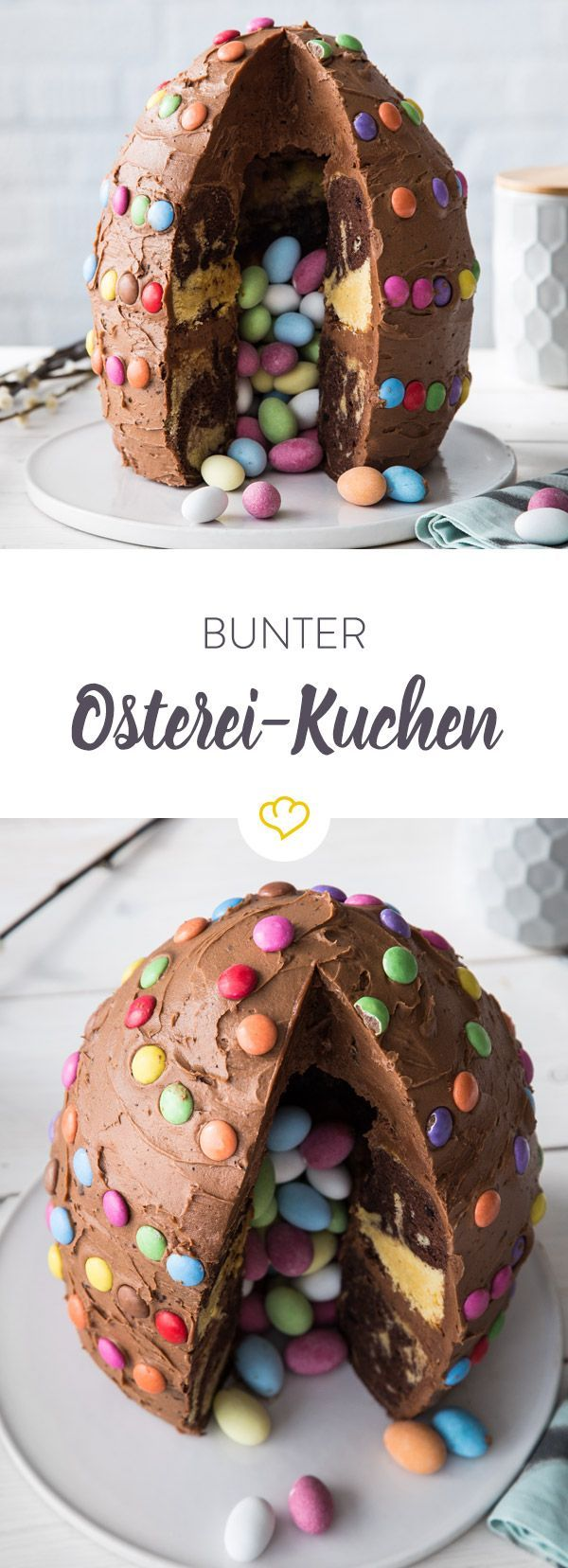 Photo of Colorful Easter egg cake with sweet filling