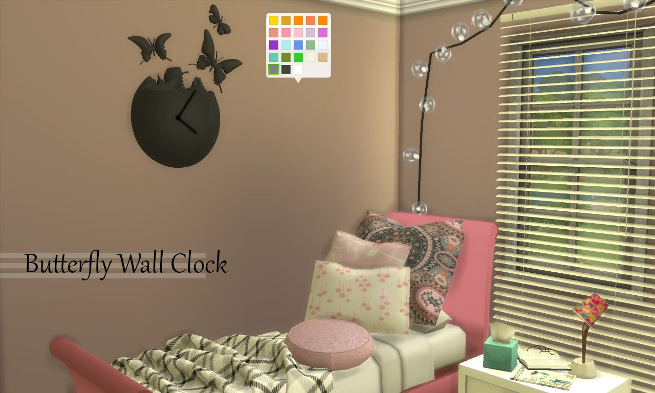 Enure Sims, Butterfly Wall Clock Download Credits 3ds Model:...