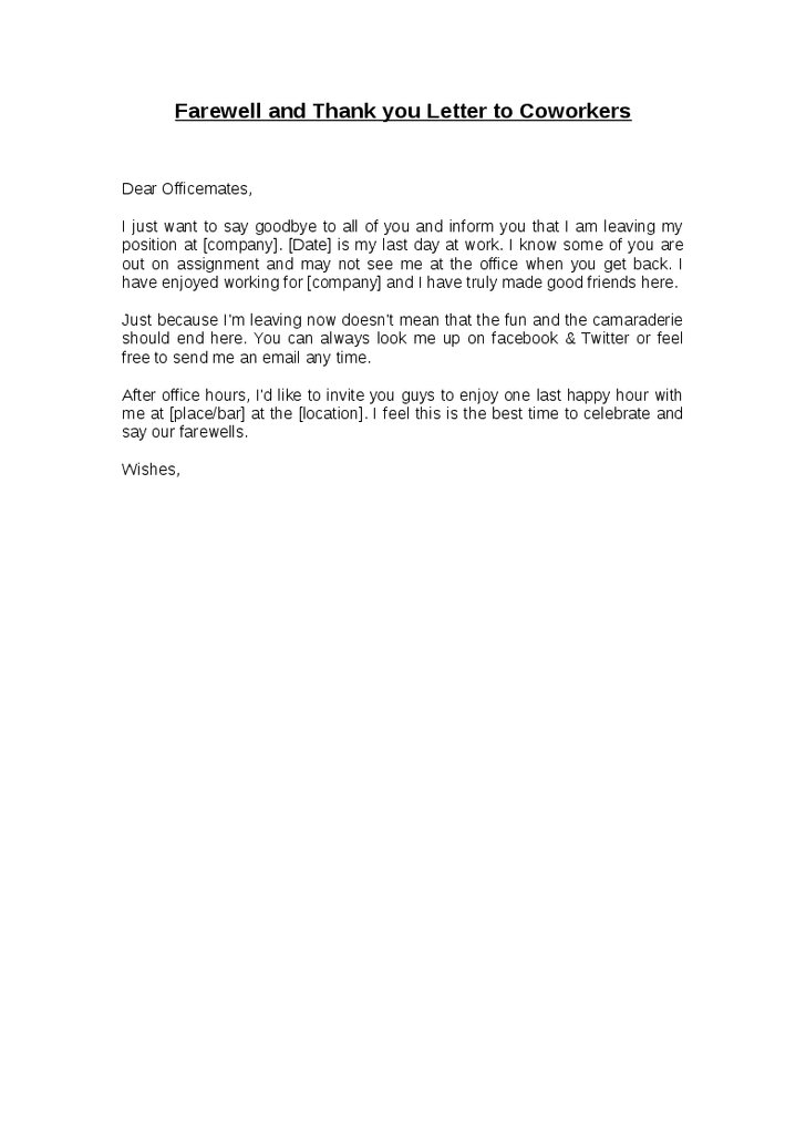 Thank You Letter To Colleagues On Last Day Of Work from i.pinimg.com