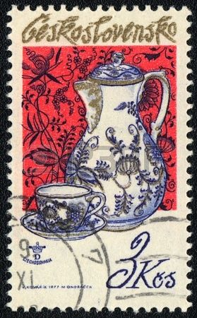 CZECHOSLOVAKIA - CIRCA 1977: A stamp printed in CZECHOSLOVAKIA  shows Jug and teacup, circa 1977