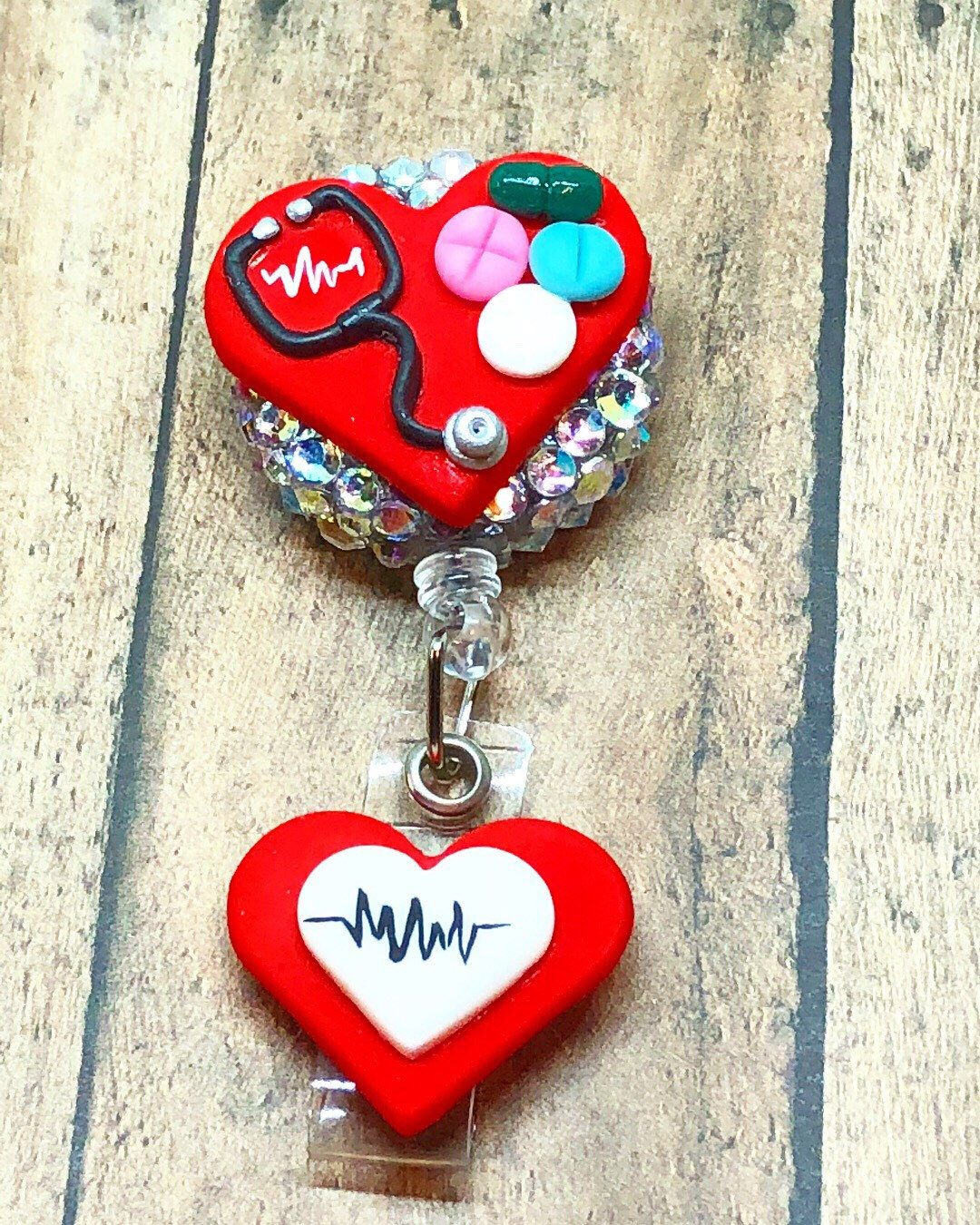Flag Heart USA ID Badge Holder ID Badge Reel Badge Holder Fourth of July Badge Reel Heart Badge Reel