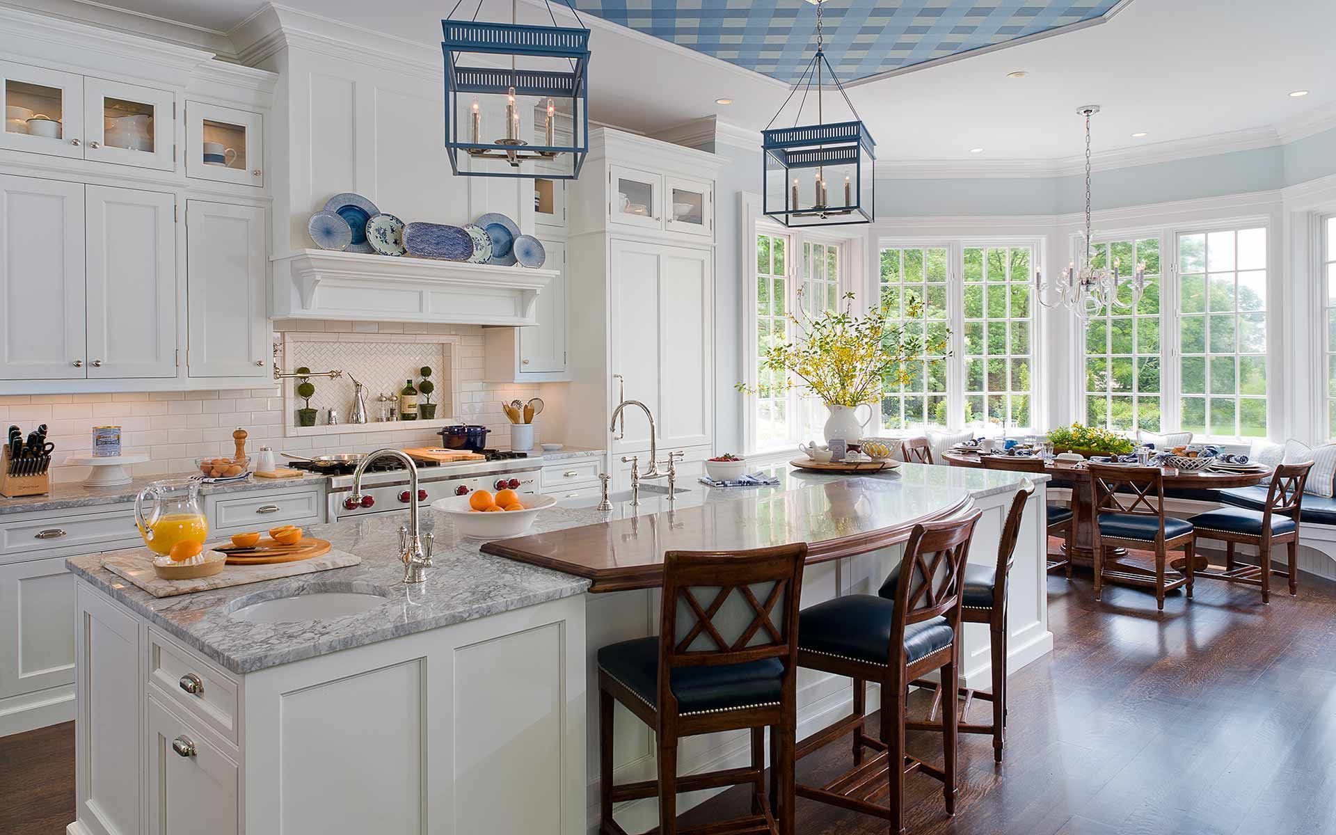 Deane Inc Kitchen With Custom Cabinetry Marble Countertops And Wooden Countertop Br Traditional Kitchen Design Kitchen Countertop Choices Kitchen Inspirations