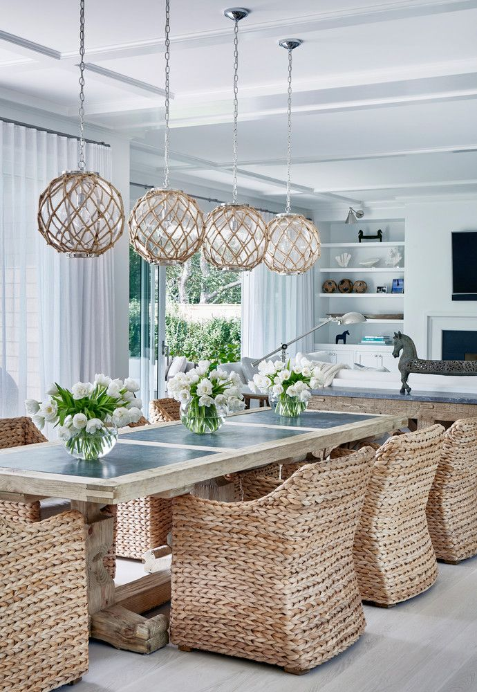 This Hamptons Beach House Is What Summer Dreams Are Made Of Domino Elegant Dining Room Dining Room Design Hamptons Beach House