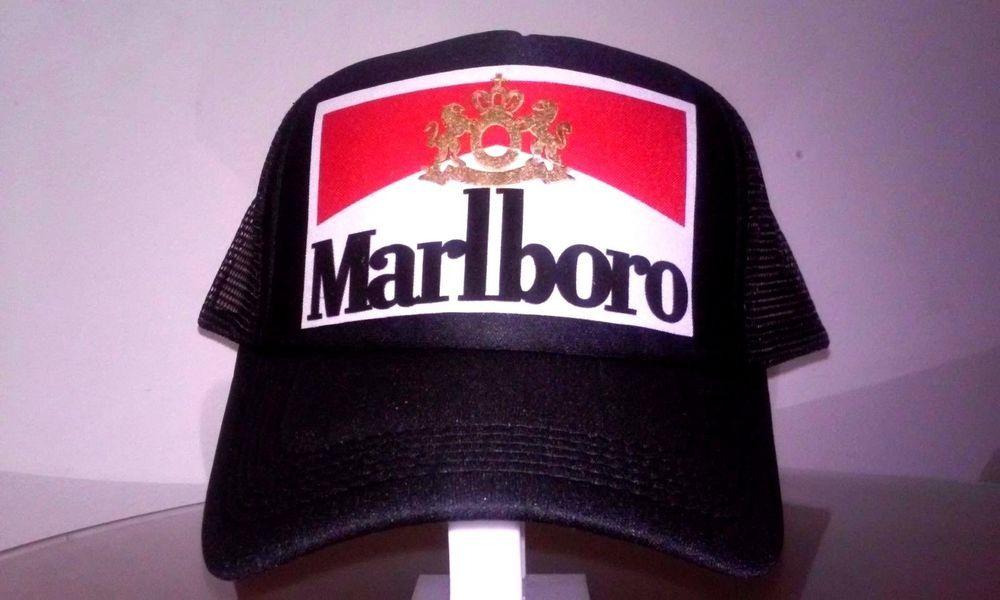 6ffbd640e19 Marlboro Trucker Hat Mesh Snapback Adjustable Red White Gold Cigarette Box  Logo