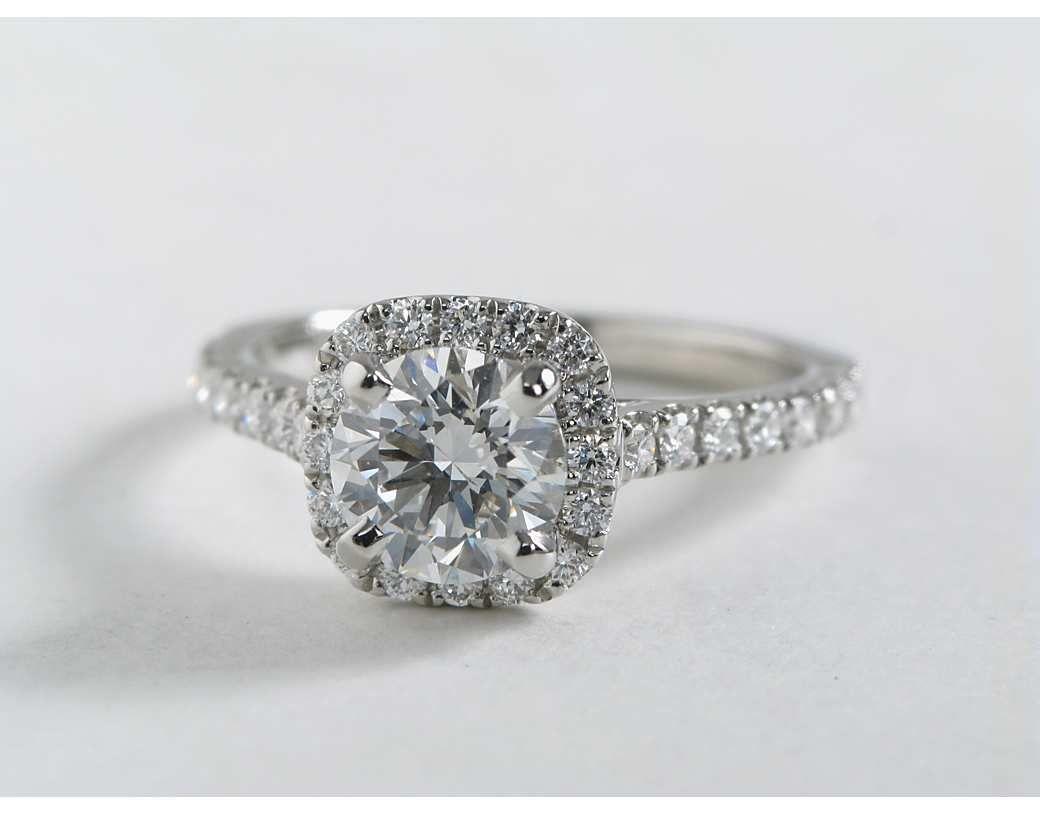 Cushion Halo Diamond Engagement Ring In Platinum 1 3 Ct Tw Diamond Engagement Rings Halo Diamond Engagement Ring Engagement Ring Shapes