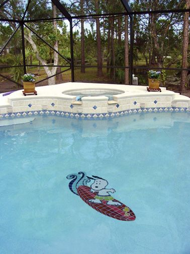 Swim With Peanuts Surfing Snoopy Tile Mosaic Mosaic Pool Mosaic