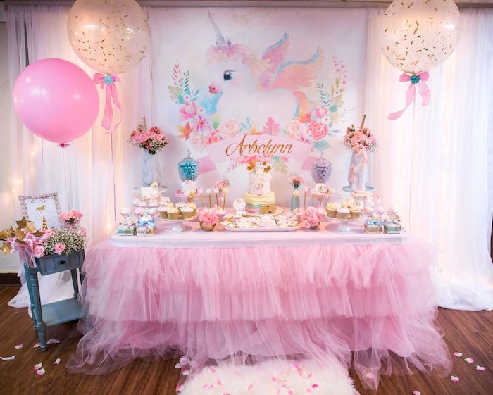 Baby Unicorn 1st Birthday Party Baby unicorn Dessert table and