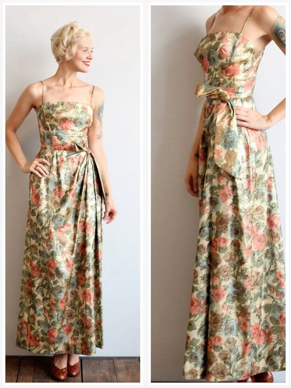 1960s Gown // Evening with Jazz Gown // vintage 60s brocade dress ...