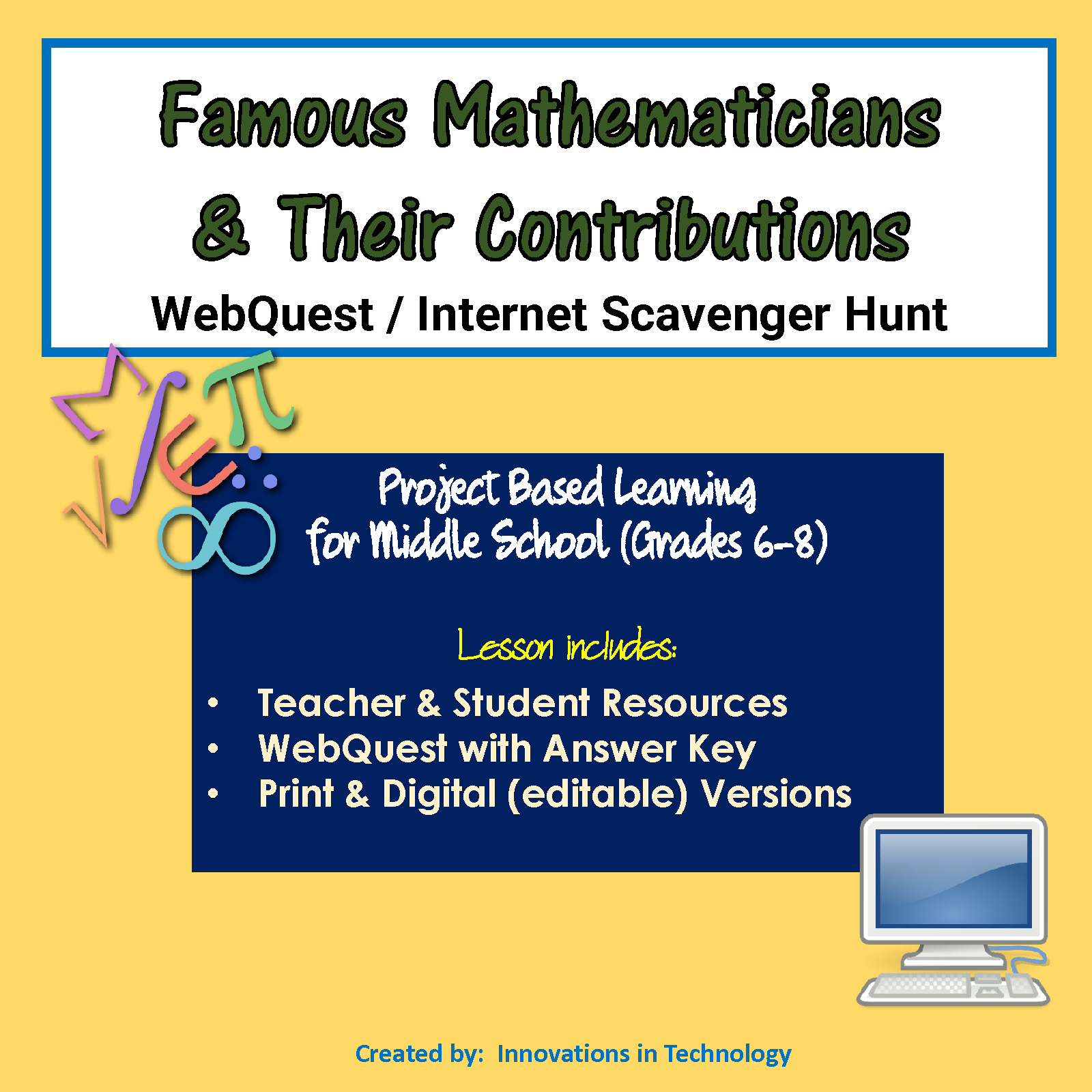 Famous Mathematicians WebQuest Scavenger Hunt
