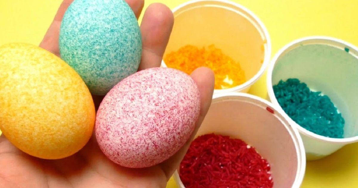 Оригинальный способ окраски яиц рисом. | Пасхальные яйца ...
