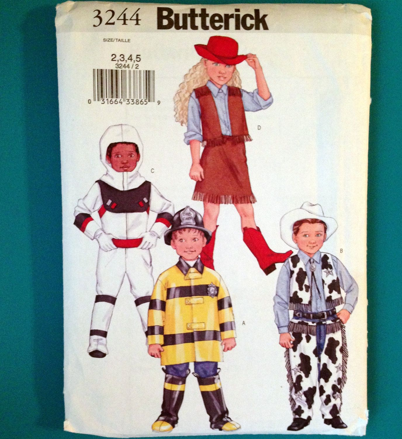 butterick 3244 child costume pattern cowboy cowgirl astronaut firefighter sizes 2 3 4 5 childrens halloween - Childrens Halloween Costume Patterns
