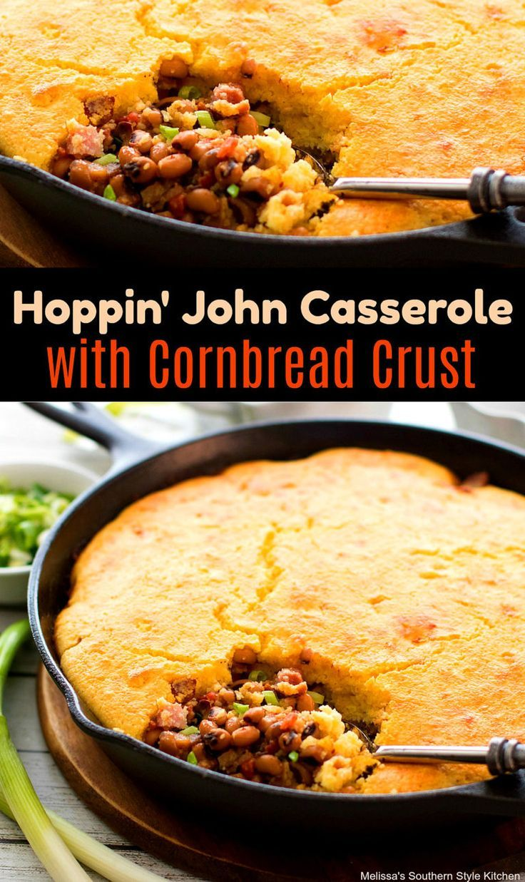 Photo of Hoppin' John Casserole with Cornbread Crust #hoppinjohn #blackeyedpeas #cassero…