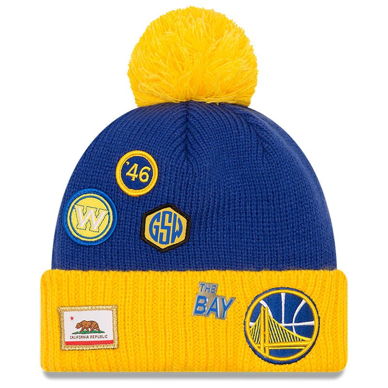 aeb76877bf5 Golden State Warriors New Era Draft Cuffed Knit Hat With Pom – Royal Gold