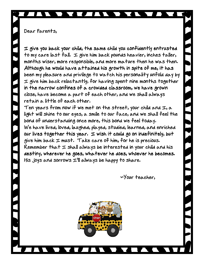 This is so cute end of the year letter to parentswhat parent end of the year letter to parentswhat parent wouldnt love to get this from their childs teacher thecheapjerseys Image collections
