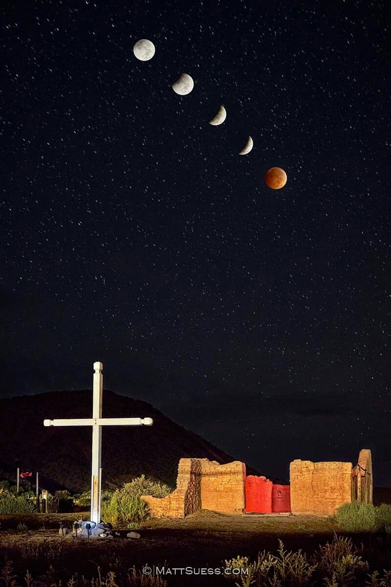 """Blood Moon over Abiquiu""  This 6 photo composite of the blood moon lunar eclipse was photographed in Abiquiu, NM at La Santa Rosa de Luma - an old church built in 1734"
