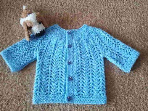 ажурная кофточка для новорожденного мальчика спицами вязание для