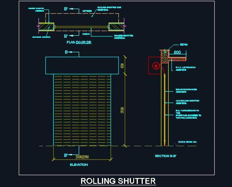 Rolling Shutter Dwg Detail Design Rolling Shutter Shutter Designs Shutters