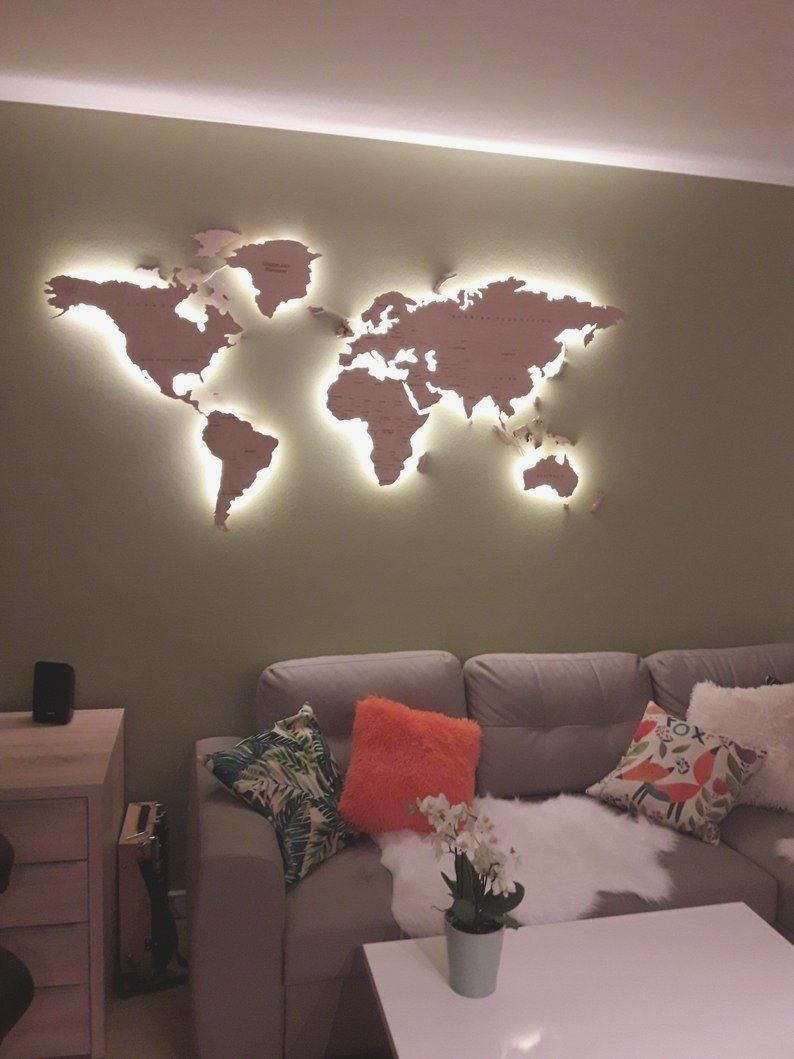 Photo of Mappa murale in legno chiaro della mappa del mondo wall art big trip LED | Etsy #gift …