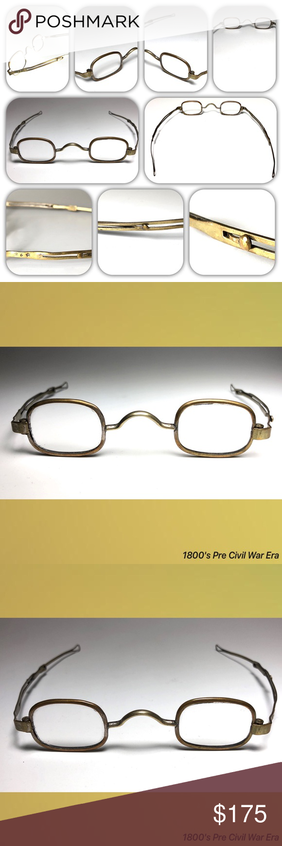 787999a95016 1800 s Pre Civil War Era Antique Reading Glasses 1800 s Pre Civil War Era  Antique Reading Glasses