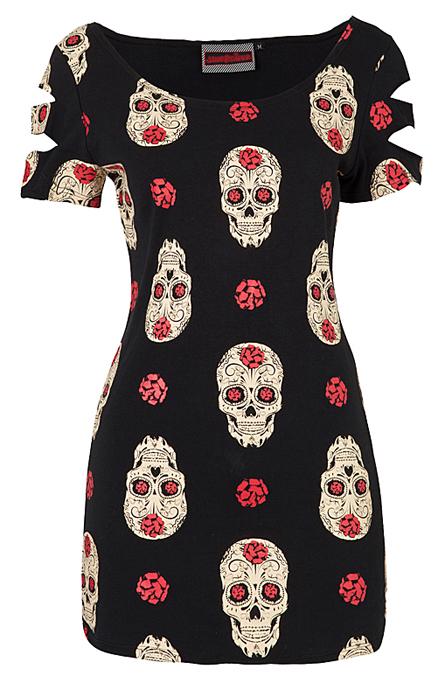 Jawbreaker Day Of The Dead Skull T-Shirt Dress   Gothic Clothing   Emo clothing   Alternative clothing   Punk clothing - Chaotic Clothing