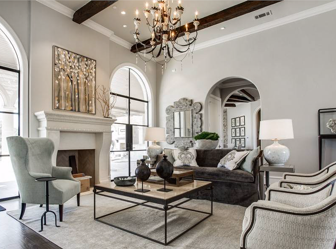 Beautiful Mediterranean Style Grey And Beige Living Room Decor With Taupe Gr Farmhouse Style Living Room Decor Country Style Living Room Farm House Living Room