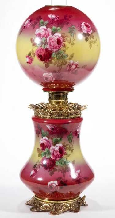 Victorian Enamel Decorated Parlor Gone With The Wind On In 2019 Victorian Lamps Gone With