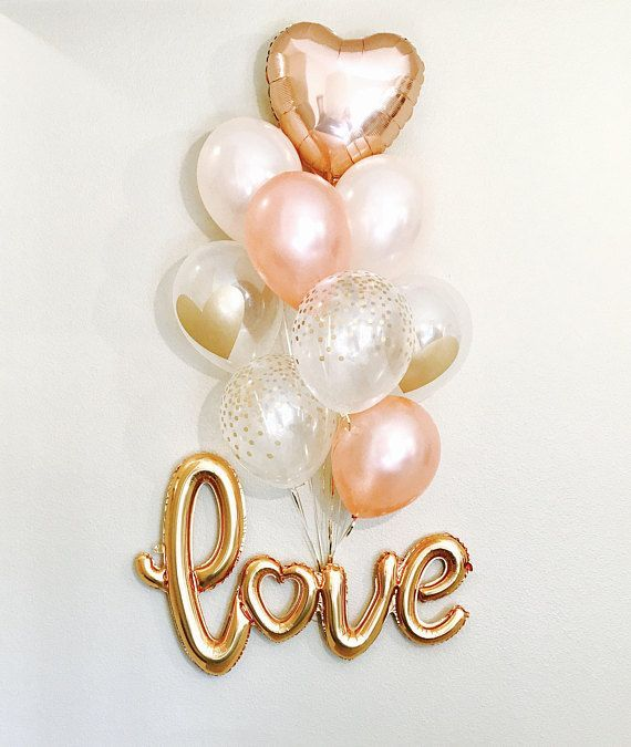 NEW Gold Love Balloons, New Love Balloon, Rose Gold and Peach Latex, Rose Gold Wedding, Rose Gold Bridal Shower Engagement Balloons,