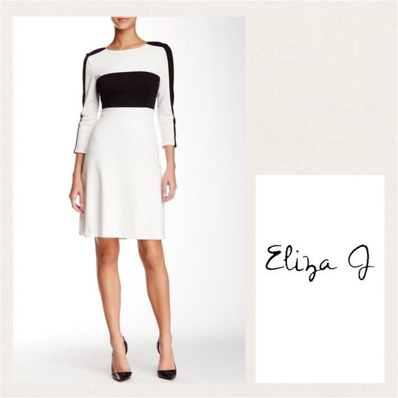 """TRENDING ELIZA J Long Sleeve Colorblock Dress ELIZA J Long Sleeve Colorblock Black & Ivory Ponte Dress ~ Jewel neck ~ 3/4 length sleeves ~ Exposed back gold zip closure ~ Colorblock ~ Lined ~ Approx. 35"""" length ~ Shell: 77% polyester, 20% rayon, 3% spandex, Lining: 100% polyester #1920  Trades or Holds ✅ Use offer option ❤️Bundles Eliza J Dresses"""