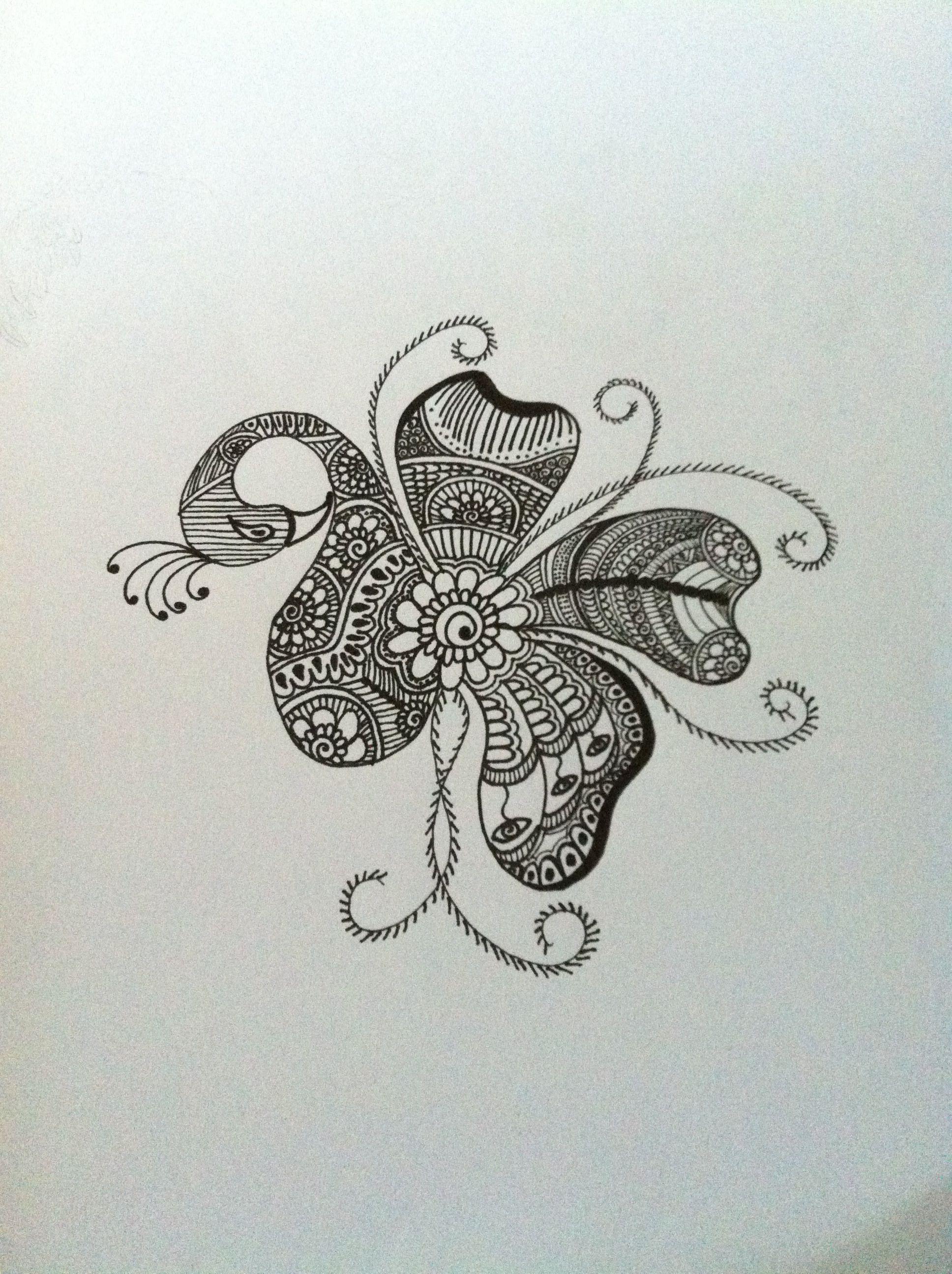 Mehndi Henna Pen : Finished mehndi indian henna peacock pen drawing art
