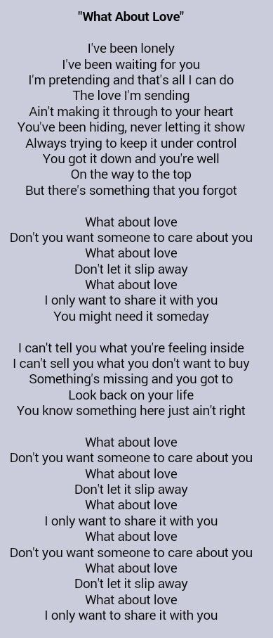 Heart What About Love Great Song Lyrics Just Lyrics Song Lyric Quotes