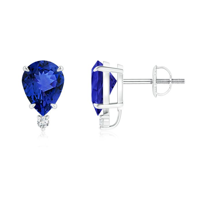 Angara Classic Claw-Set Pear Tanzanite Solitaire Stud Earrings in White Gold Izdsc6f