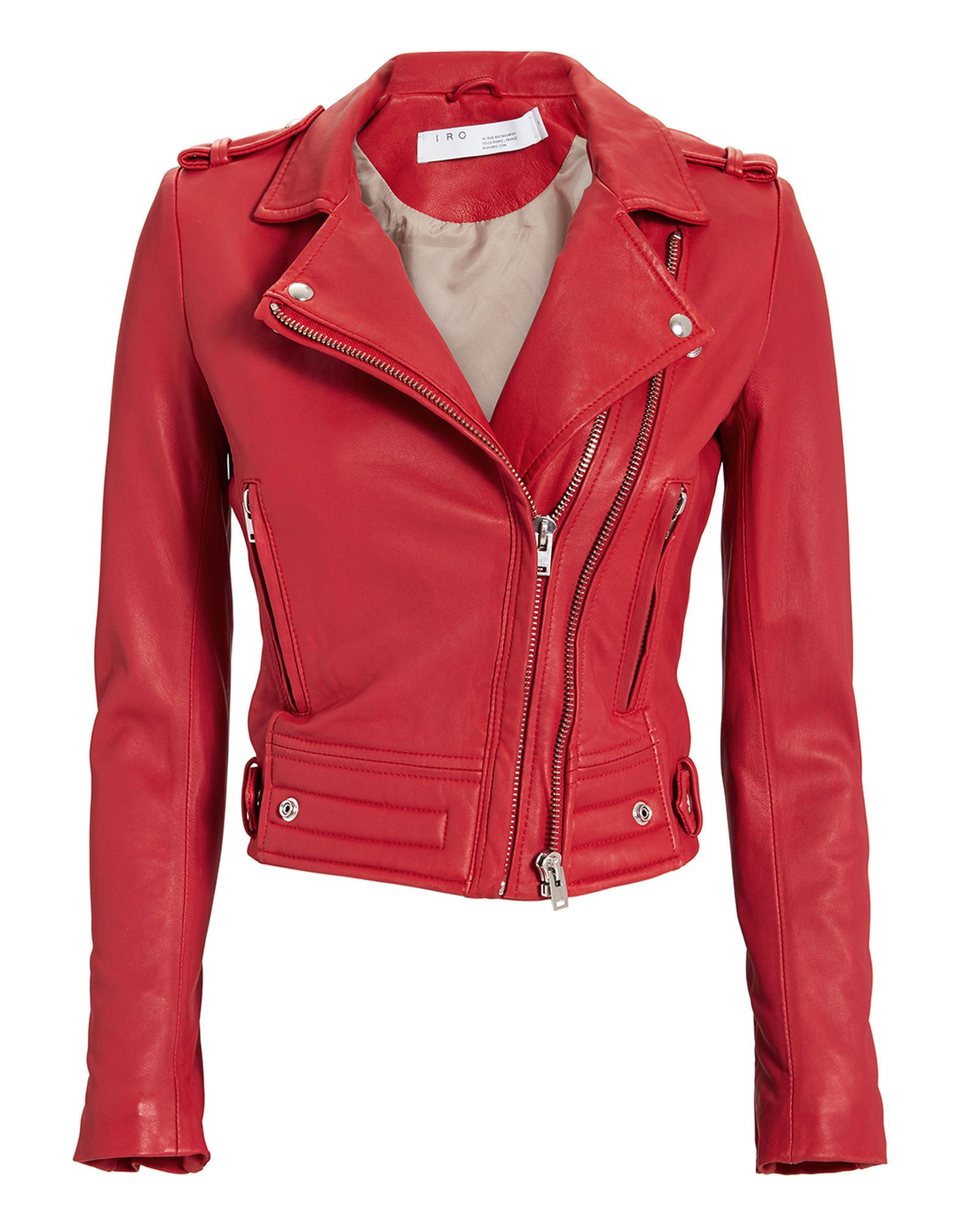 Luiga Red Leather Cropped Moto Jacket, RED, hires (With