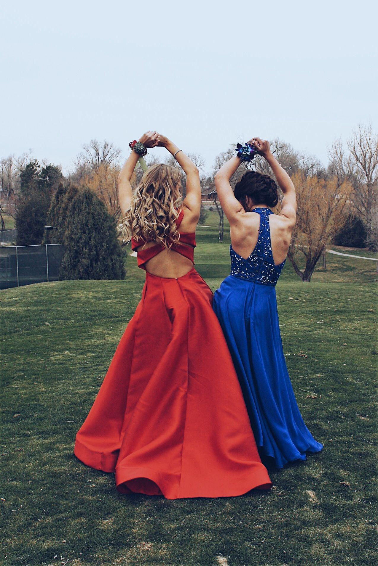 Prom Season Prom Pictures Best Friend Red Dress Blue Dress Blonde