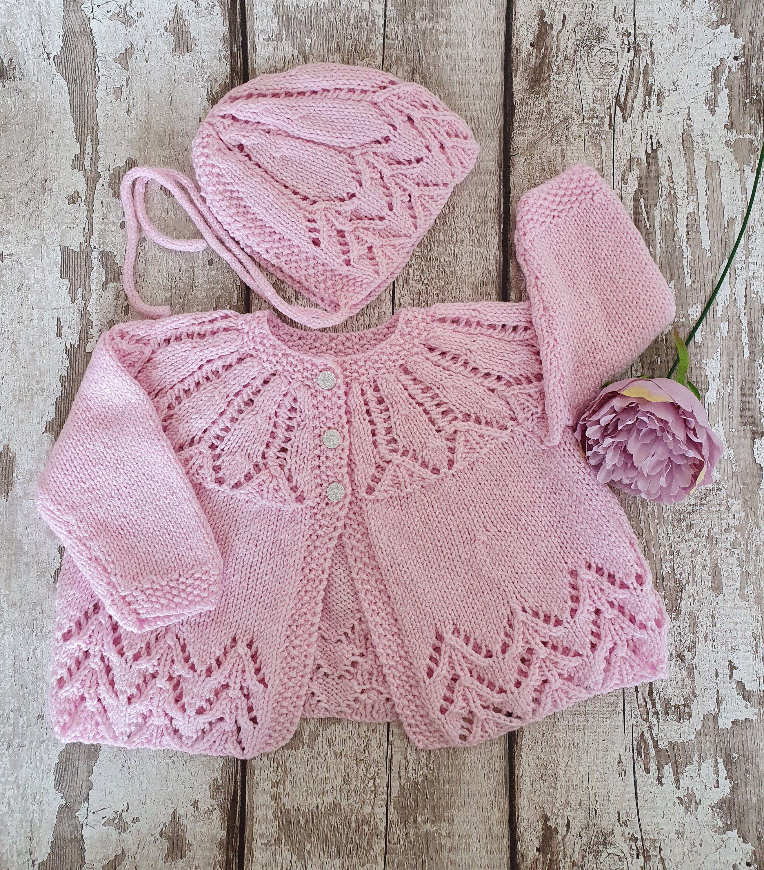 Knit Baby Cardigan HANDMADE Crochet Matinee Jacket /& Hat Set Multi Colours