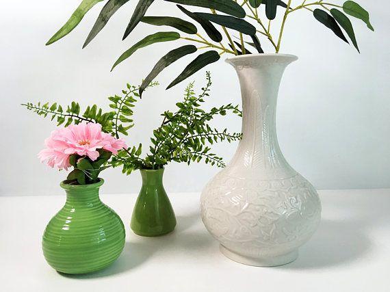 Vintage Ivory Reproduction Celadon Vase Ornate Vine Leaf Greek Key