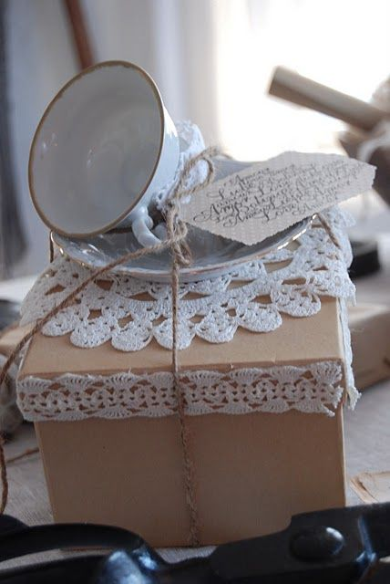 Giving the  gift of tea...inside gift box your favorite tea with recipe for scones/mix ...the tea cup is the Bow <3