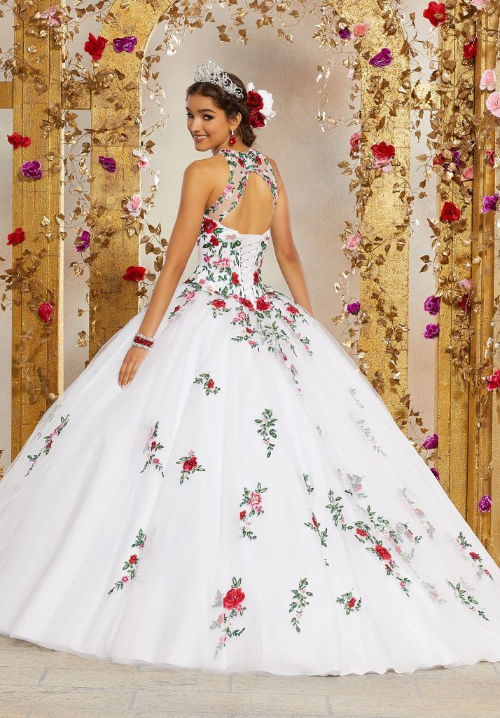 Crystal Beaded Embroidery on a Tulle Quinceañera B