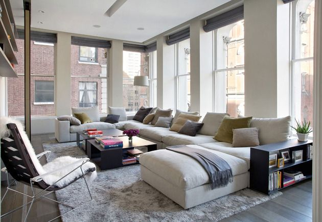Sophisticated New York City Loft Modern Sofa Sectional Contemporary Family Rooms Family Friendly Living Room