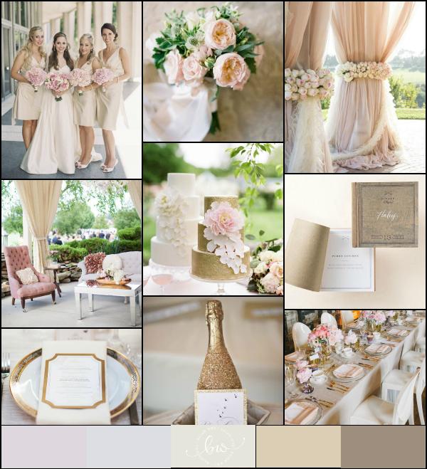 Gold Ivory Champagne Blush Pink Chocolate Wedding Palette