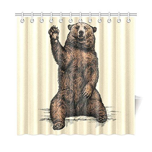 Interestprint Funny Animal Home Decor Bear Say Hello Polyester